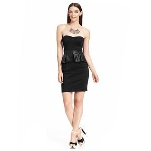 Jessica Simpson Black Peplum Strapless Dress 10